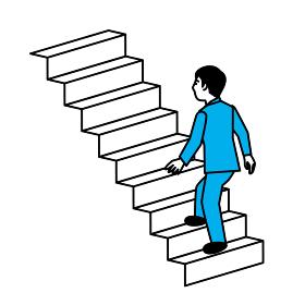 階段を上る男性 斜め後ろ