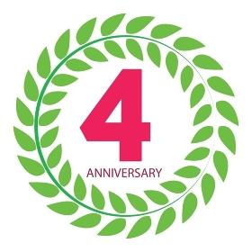 Template Logo 4 Anniversary in Laurel Wreath Vector Illustration EPS10. Template Logo 4 Anniversary in Laurel Wreath Vector Illustration