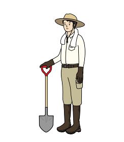 農作業の服装。農業、ガーデニング、家庭菜園。シャベルを持った男性。