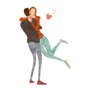 イラスト素材:カップル、愛、幸せ、ライフスタイル