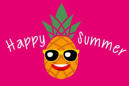 サングラスをかけたパイナップルのキャラクターのイラスト Happy summer|暑中見舞い