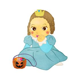 ハロウィン 指輪型の飴を舐めているお姫様のコスプレをした栗毛の女の子