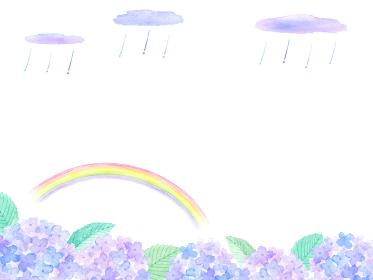 虹とあじさいと雨の水彩イラスト