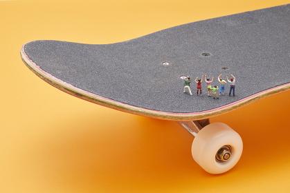 スケートボードを応援する観客 ミニチュア