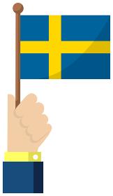 手持ち国旗イラスト ( 愛国心・イベント・お祝い・デモ ) / スウェーデン