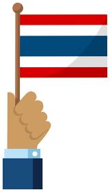 手持ち国旗イラスト ( 愛国心・イベント・お祝い・デモ ) / タイ