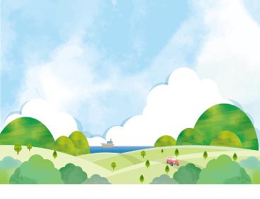 爽やかな風景の水彩風背景素材 春 夏 避暑地 ドライブ 旅行