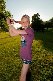 girl with softball bat