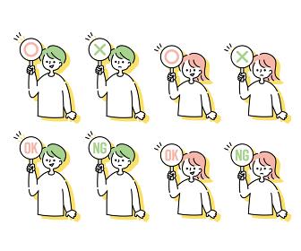 ○×パネルを持つ男女のセット(上半身)