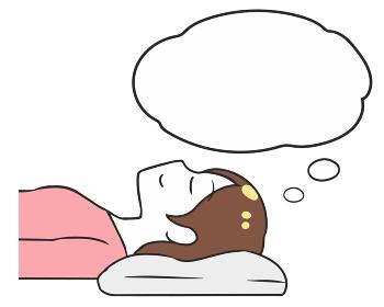 寝る 横向き 女性 上半身 吹き出し
