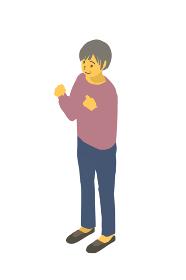 アイソメトリック図法 健康的なおばあちゃんが両手をあげるベクターイラスト