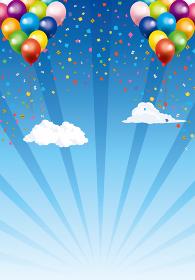 ハッピーで楽しそうなイメージの背景イラスト:青空を飛ぶ風船バルーン自然風景集中線バック