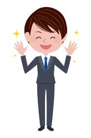 スーツ姿の若い男性(バンザイ)