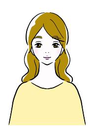 大人かわいい女性が微笑んでいる線画イラスト