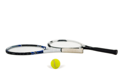 Tennis ball and rackets on white background