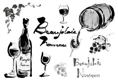 ボジョレーヌーボーやワイン関連のワインボトルやグラスワインやぶどうや文字などのセット モノクロ