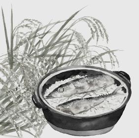 土鍋秋刀魚ごはん サンマ 新米 秋の味覚 稲穂 料理 モノトーン 白背景【水墨画風】