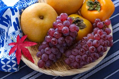 秋の果物 (ぶどう、柿、梨)