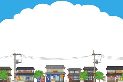 日本の夏の街並みの風景ベクターイラスト横(背景、コピースペース)