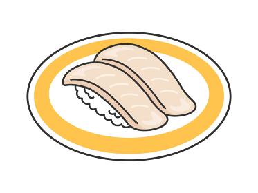 皿にのったビンチョウマグロの寿司のイラスト