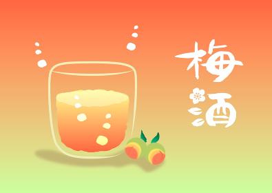 梅酒(Umeshu)・筆文字 挿絵 筆文字