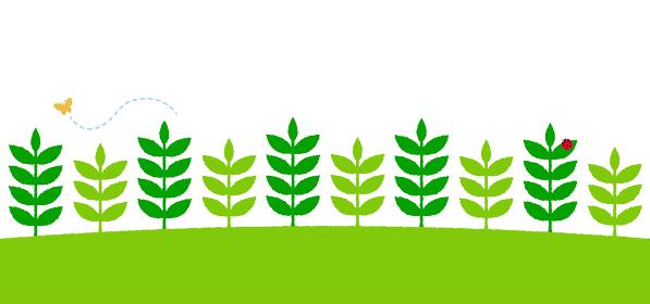 手書き風 植物/自然 /葉っぱ パターン (昆虫イラスト付き) / Webフッターデザイン向け