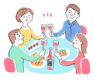 ワインで乾杯する男女