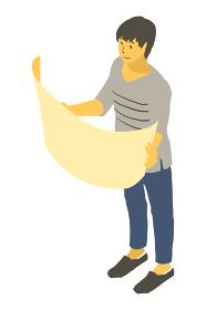 アイソメトリック図法で紙を広げる中性的な人