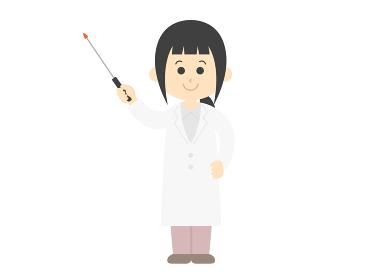 指し棒で解説する女性医師のイラスト