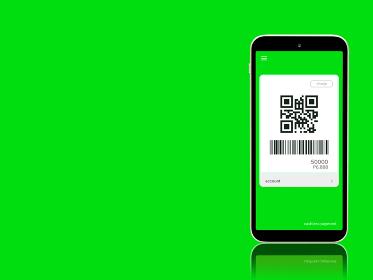 キャッシュレス決済 コード払いのイメージ 緑色 1403