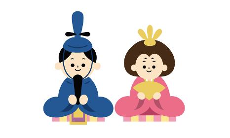 ひな祭り、雛人形のベクターイラスト