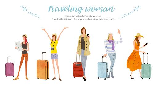 イラスト素材:女性、旅行、休暇、セット