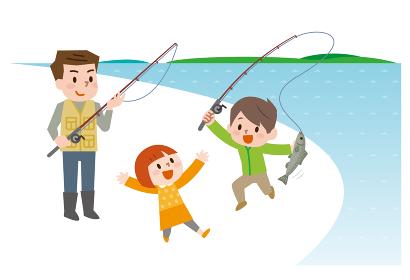 家族 魚釣り