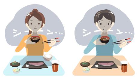 1人でご飯を食べる 左利き(線無し)
