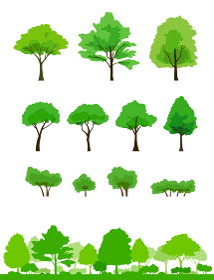 緑の木と風景 イラストセット