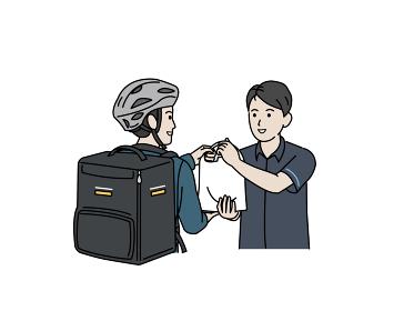 フードデリバリー 配達員 男性 荷物を渡すコンビニの店員 イラスト素材