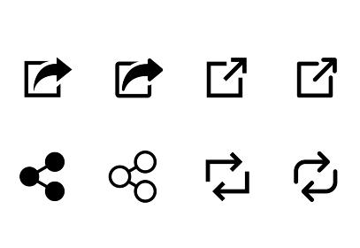 ウェブアイコンセット シェアボタン リンク 新しいページを開くボタン