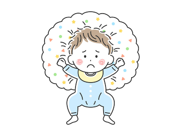 授乳クッションで寝転んでいる不機嫌な赤ちゃんのイラスト