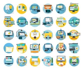 Set of web design icon flat concept. Web and design, icon and website, website design, web template, web designer, web design elements, technology development design. digital design illustration