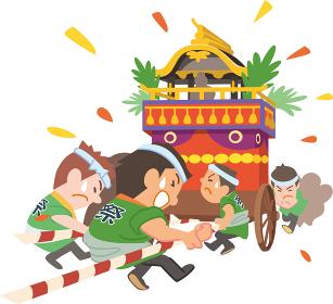 お祭り山車を引く男性たち