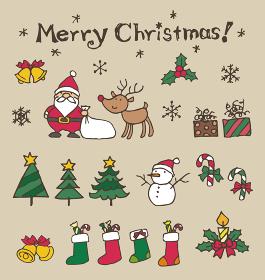 クリスマス イラスト素材(サンタクロース、クリスマスツリー、トナカイ、雪だるま)