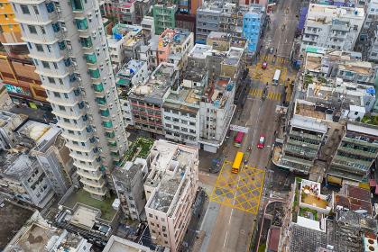 Kowloon city, Hong Kong:21 February 2019: Top view of Hong Kong city