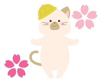 新学期 入学式のネコのイラスト