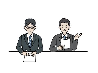 面接官 スーツを着た男性 会議 ミーティング イラスト素材