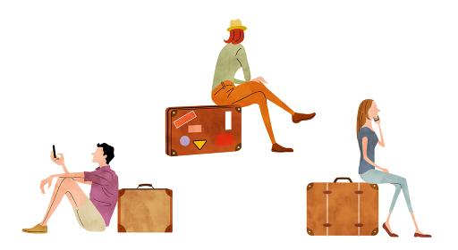 イラスト素材:旅行、休暇、男性と女性