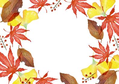 秋の紅葉 フレーム 背景 水彩 イラスト