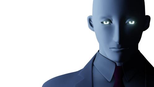 エイリアン・サイボーグイメージの男性 光る瞳 3DCG
