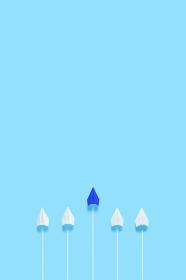 1機だけ前に飛び出した紙飛行機 3 縦位置