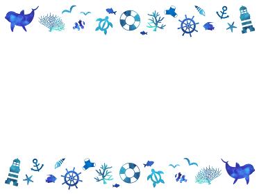 海の生き物 水彩マリンフレーム