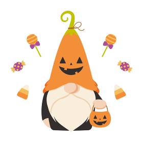 ハロウィンのカボチャの仮装をした北欧の小人のキャラクター